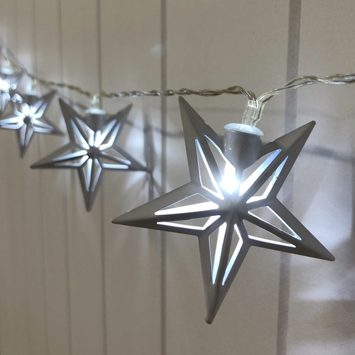Hanging Star Lights x 10 - 150cmL / Cool White