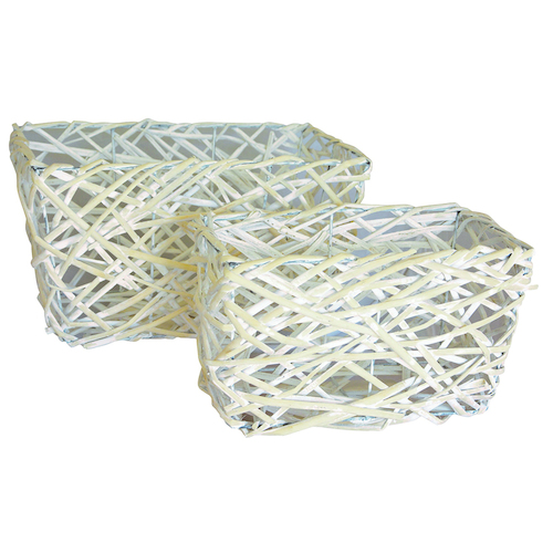 S/2 RECT WILLOW BASKET - Lge: 35cmL x 21cmW x 20cmH - WHITE WASH