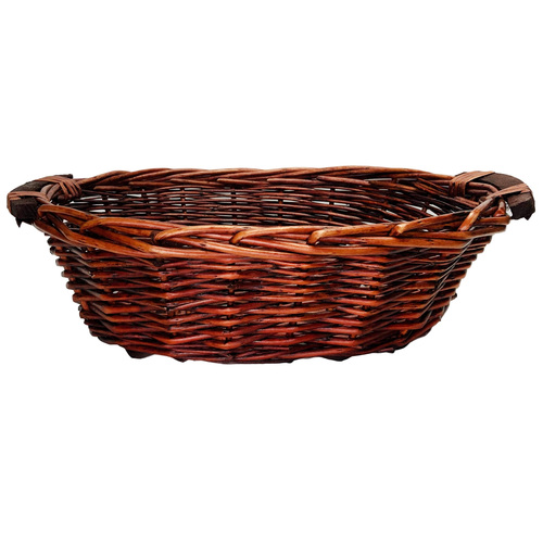 Oval Willow Tray w/Wooden Handle  - 35cmL x 27.5cmW x 11cmH / Brown
