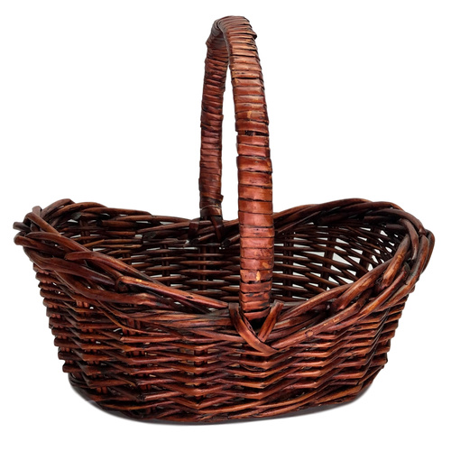 SMALL OBLONG WILLOW BASKET - 26cmL x 18cmW x 10cmH - BROWN