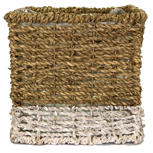 LARGE SQUARE SEAGRASS BASKET w/PLASTIC LINER - 16cm x 16cm x 15cm H / NATURAL w/WHITE