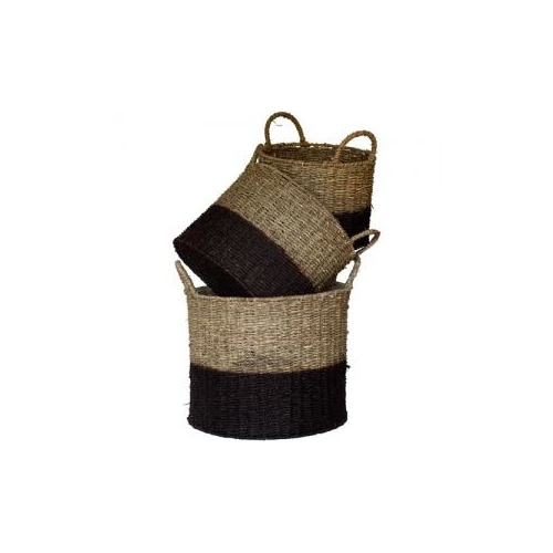 S/3 ROUND SEAGRASS BASKET - Lge: 36cmD x 30cmH - NATURAL w/BLACK