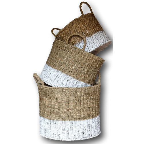 S/3 ROUND SEAGRASS BASKET - Lge: 36cmD x 30cmH - NATURAL w /WHITE