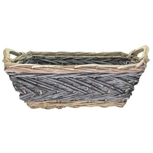 RECTANGLE WILLOW TRAY - 35cmL x 26cmW x 13cmH   - GREY