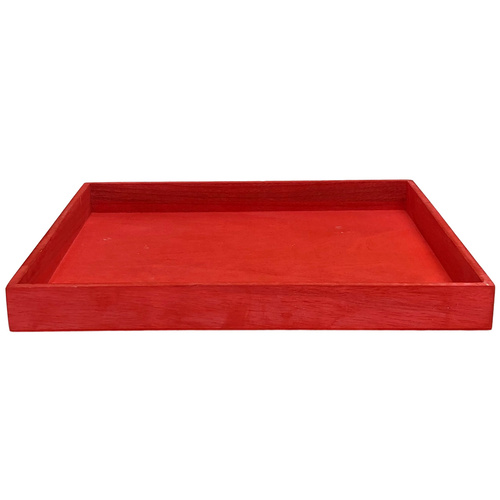 Wooden Tray  - 35cmL x  31cmW x 3.5cmH / Red