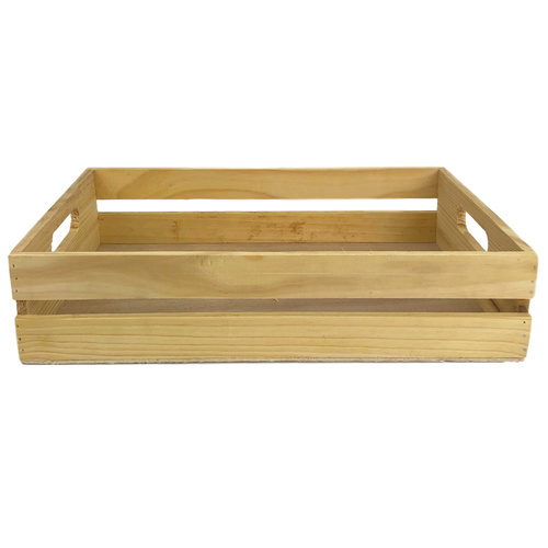SLATTED WOODEN RECTANGLE BOX  - 39cmL x 27cmW x 9cmH - NATURAL