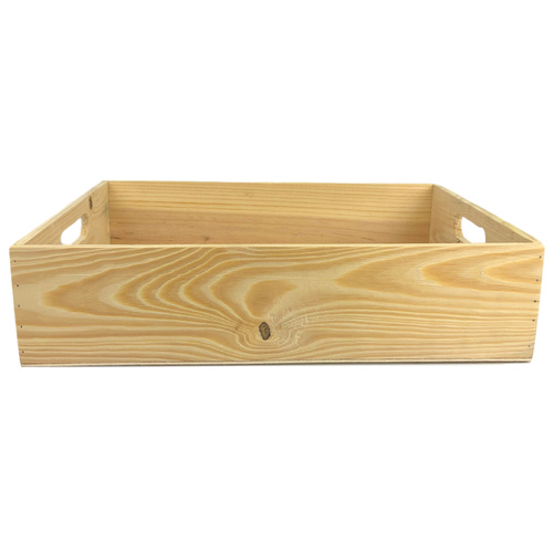 Rectangle Wooden Tray - 41cmL x 31cmW x 10cmH / Natural