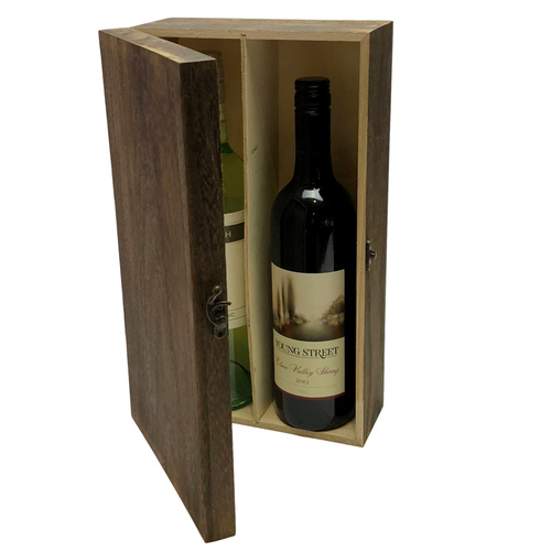 2 Bottle Wooden Wine Box - 35cmL x 20cmW x 10cmH / Brown Wash