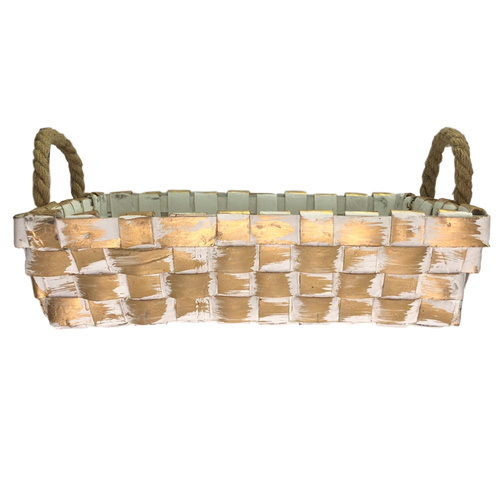 Washed Gold Tray w/Rope Handles - 35cmL x 25cmW x 9cmH / White / Washed Gold
