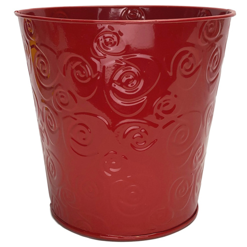 Round Metal Bucket w/Rose Pattern  - Top Diam: 15cm x Base Diam: 11cm x 14.5cm H / Red