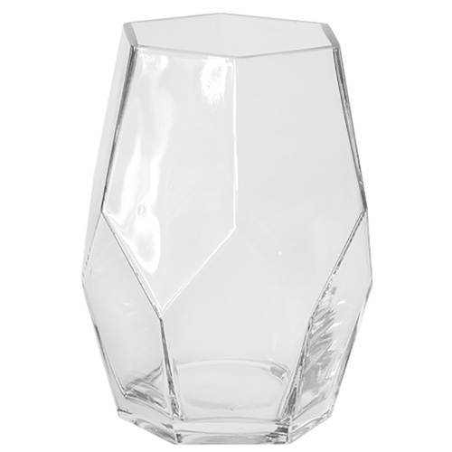 POLYGON GLASS VASE - Top: 12cm x 20cmH