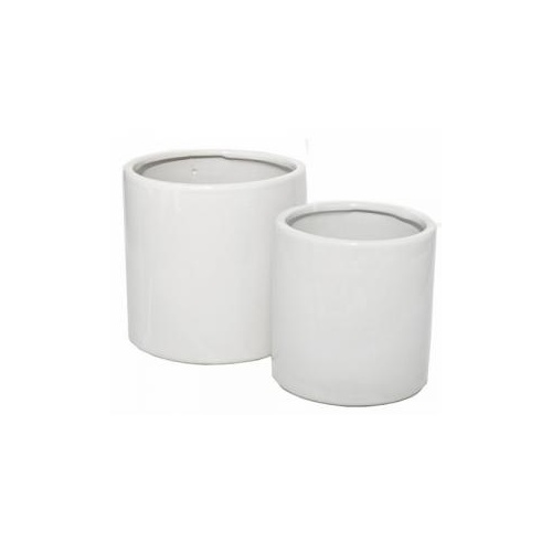 S/2 SQUAT CYLINDER CERAMIC VASE - Lge: 15.5cmD x 15.5cmH - WHITE