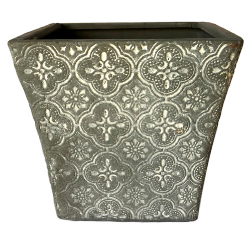 DECOR CERAMIC SQUARE TAPERED VASE - Top: 13cm x Base 10.5cm x 11.5cmH - DARK GREY