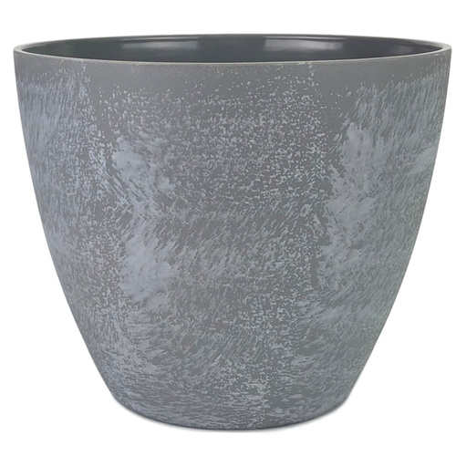 LG ROUND TAPERED MELAMINE POT - Top 18.5cmD, Base 11cmD x 16cmH / GREY