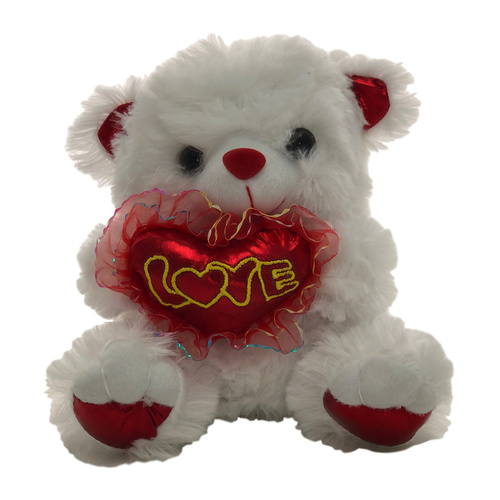 Bear w/Red Heart - 18cm / White