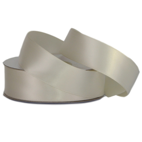 Double Face Satin Ribbon - 25mm x 25mts / Bridal White