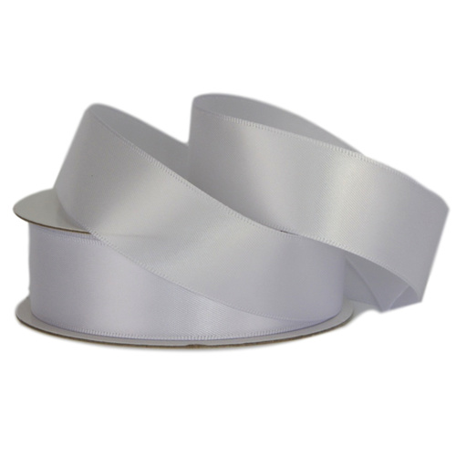 Double Face Satin Ribbon - 25mm x 25mts / White