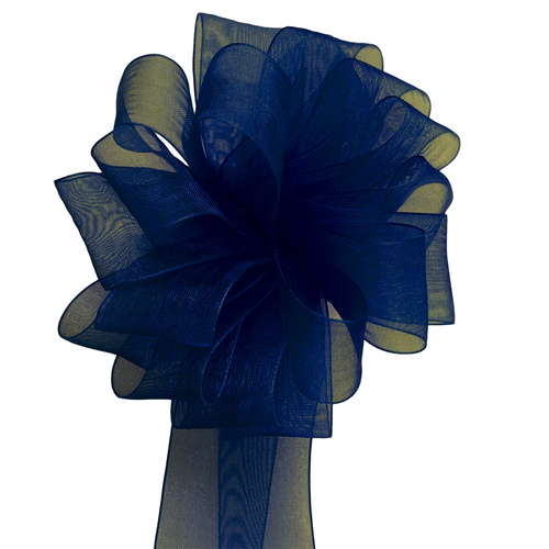 Woven Edge Organza Ribbon - 25mm x 50mts / Navy