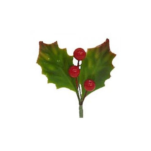 LARGE LACQUERED HOLLY LEAVES x 12 - 10cm