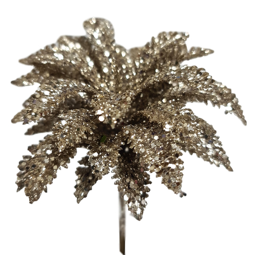 Palm Tree Glitter Pick x 12pcs - 12cmL / Champagne