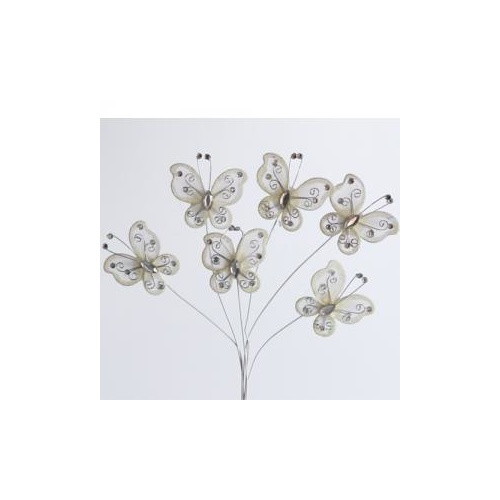 BUTTERFLY ON WIRE x 6pcs - 5.5cm - CREAM