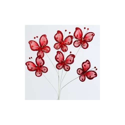 BUTTERFLY ON WIRE x 6pcs - 5.5cm - RED