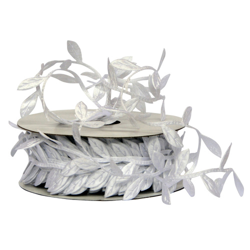 LEAF RIBBON - 2.5cmx10yds / WHITE