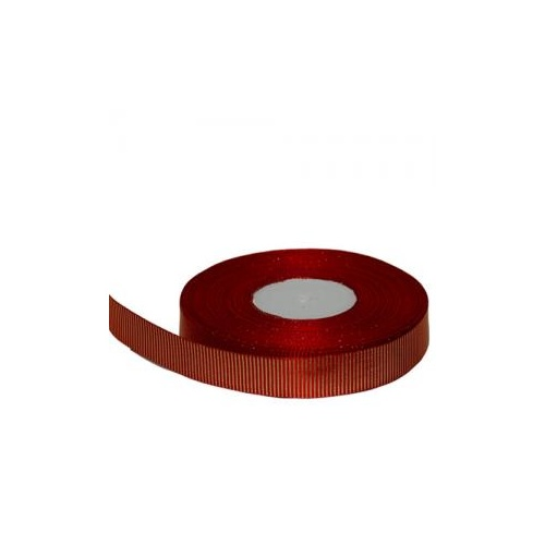 Striped Grosgrain Ribbon - 25mm x 45.7mtr / Red/Metallic Gold