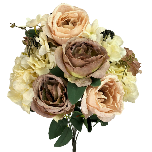 ANTIQUE ROSE/HYDRANGEA BUSH x 11 - 50cmL / LATTE