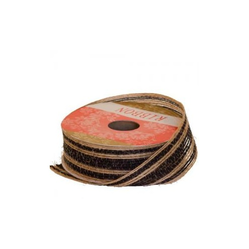 HESSIAN STRIPE RIBBON - 25mm x 4.57mtr - BLACK STRIPE