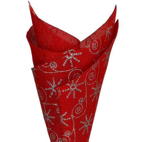 Linen Christmas Wrap - 48cm x 4.57mtr / Red