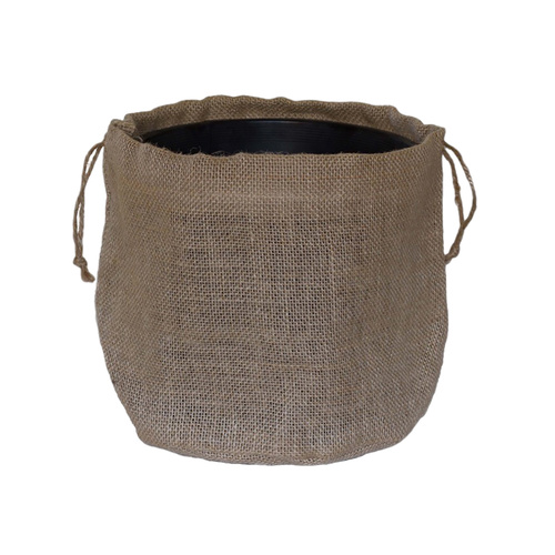 HESSIAN PULL BAG - Top: 13cmD x 13cmH