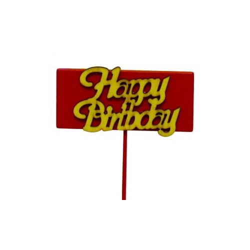 HAPPY BIRTHDAY WOODEN PICK - 26cmL x 10picks - RED/NATURAL