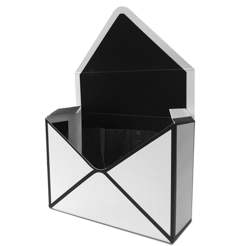 Envelope Flower Box w/Plastic Liner x 10pcs - 20cm W x 14cm H x 7cm D / White w/Black Trim